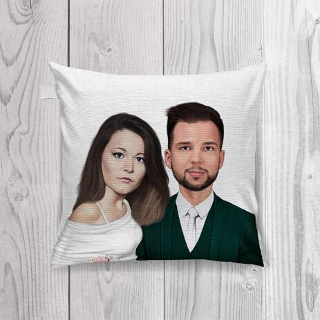 Bride and Groom Caricature as Wedding Gift on Pillow - example