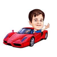 Kind im Auto Cartoonish Portrait vom Foto auf weißem Hintergrund
