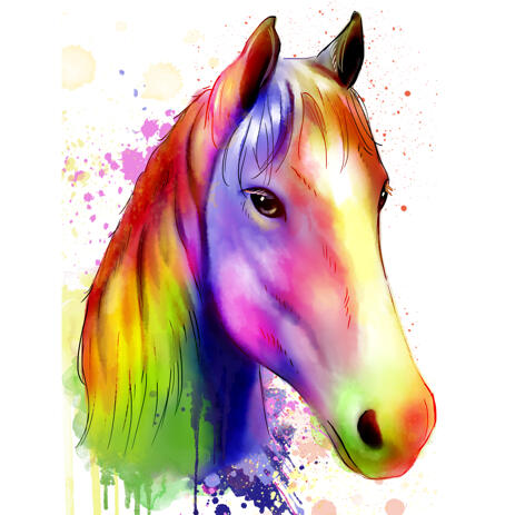 Horse Watercolor Portrait from Photos - example