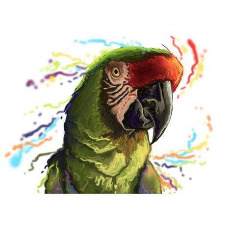 Ara Parrot Portrait in Natural Watercolor Coloring for Bird Lovers Gift - example