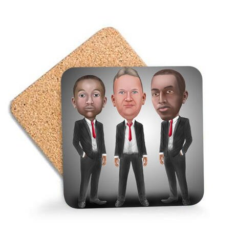 Business Group Caricature on Photo Coasters - example