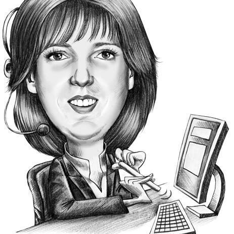 Kontoritöölaua karikatuur fotodest töötajatele või ülemusele - example