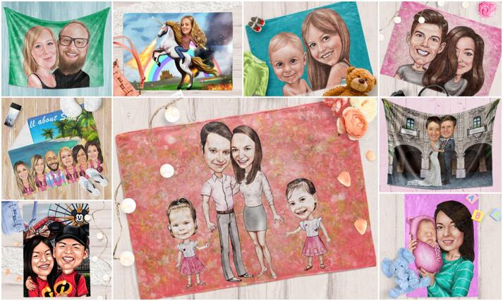 Caricature Blanket large example