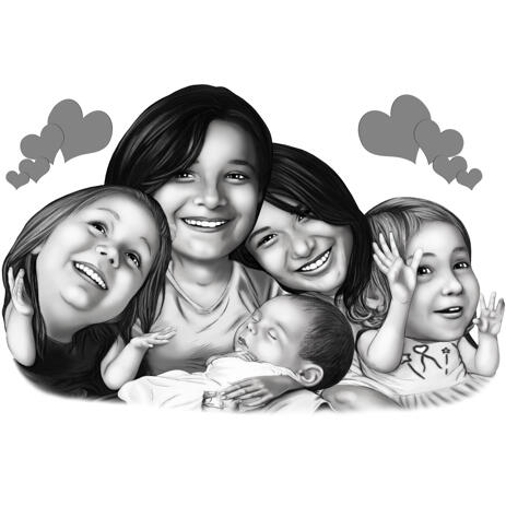 As Pretty as a Picture Group Girls Black and White Style Caricature from Photos - example