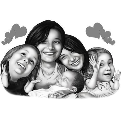 So hübsch wie eine Bildergruppe Mädchen Karikatur im Schwarz-Weiß-Stil von Fotos - example