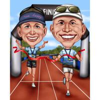 Due persone che eseguono la caricatura in stile colorato esagerato con sfondo personalizzato