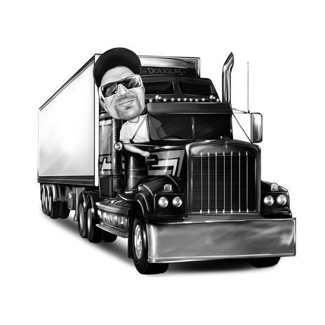 Konteinerauto karikatuuriga veokijuht fotodelt, käsitsi mustvalgelt joonistatud - example