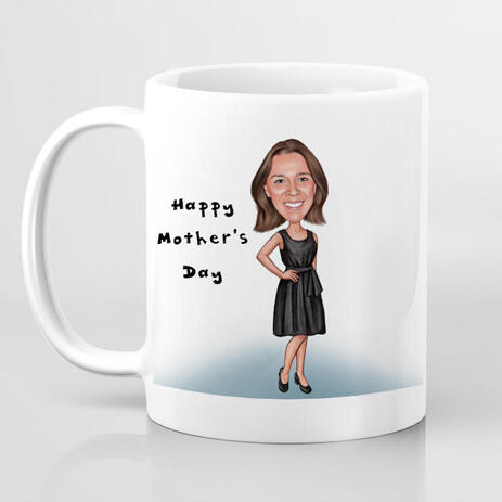 Happy Female Cartoon Caricature from Photo as Mug Print Gift - example