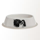 Dogs Caricature Drawing on Pet Bowl