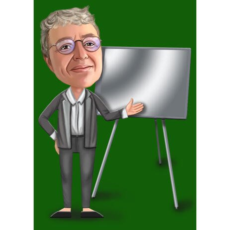 Lecturer Person Cartoon Caricature Hand Drawn from Photos with Colored Background - example