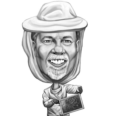 Custom Caricature Portrait from Photo for Beekeeper Apiarist Gift - example