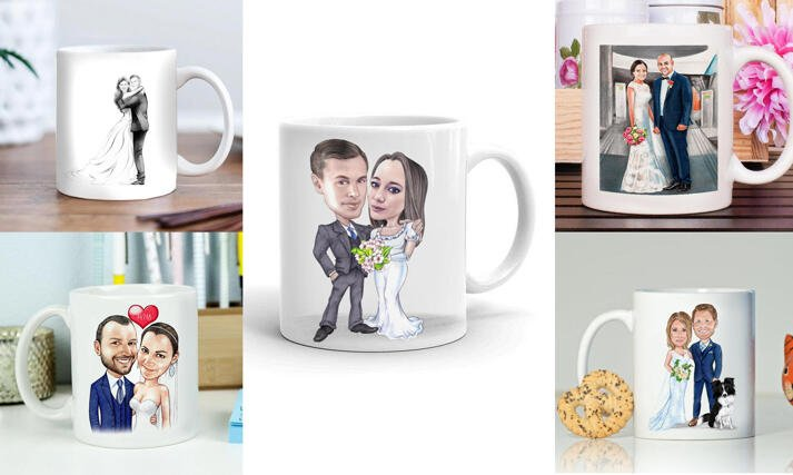Wedding Caricature Mugs large example