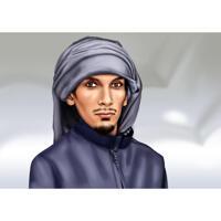 Portrait commémoratif de personne dans un style coloré avec fond gris
