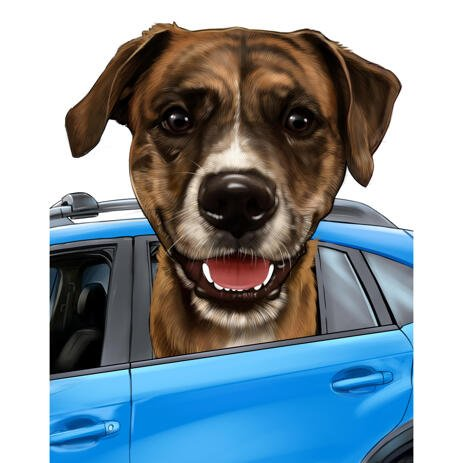 Dog Portrait from Car Window in Colored Style - example