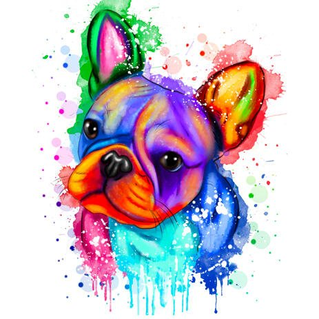 Rainbow Watercolor French Bulldog Portrait from Photos - example