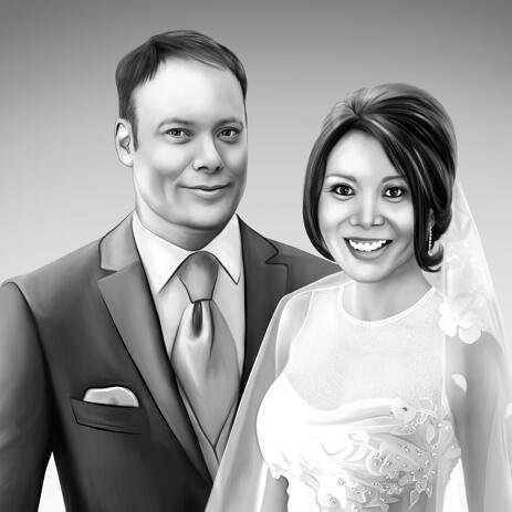 Wedding Couple Portrait Drawing in Black and White Digital Style - example