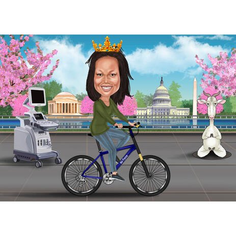 Goat Yoga Fan - Girl on Bike Caricature with Custom Background from Photo - example