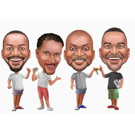 Groomsmen Caricature Gift - Big Heads - example