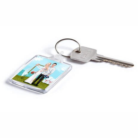 Custom Wedding Gift - Caricature Printed on Keyrings - example