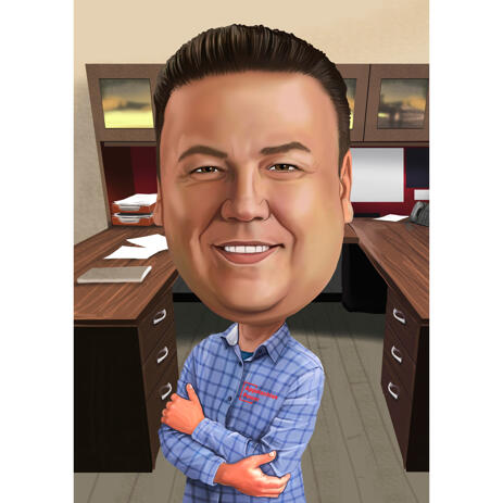 Business Office Supervisor Caricature Drawing from Photos - example