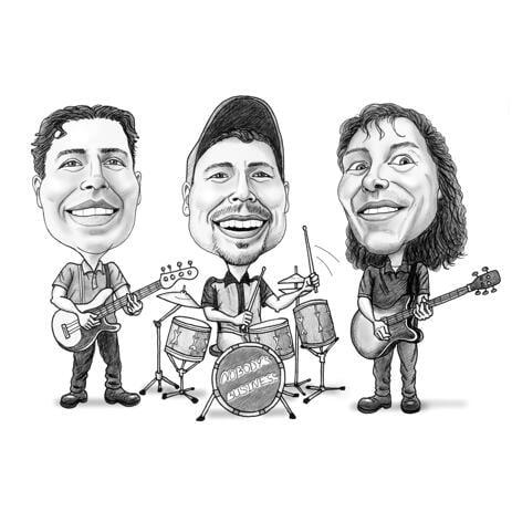 Naljakas liialdatud stiilis muusikabändi karikatuur muusikute kingituseks - example