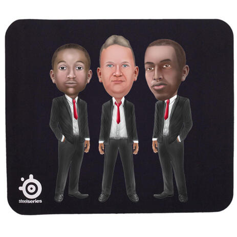 Business Group Caricature on Mouse Pad - example