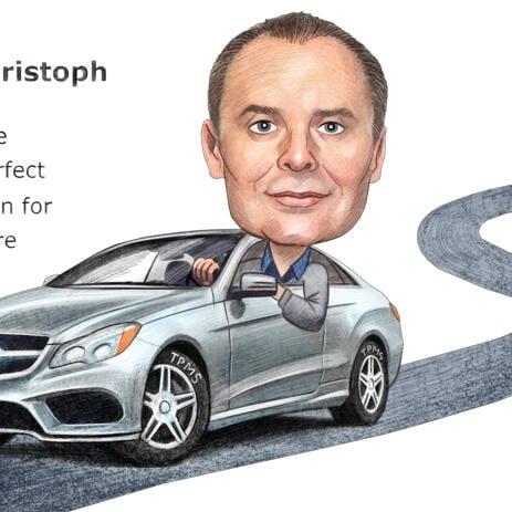 Mees autos - naljakas värviline karikatuur pliiatsite stiilis - example