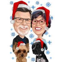 Christmas Couple Caricature with Pets