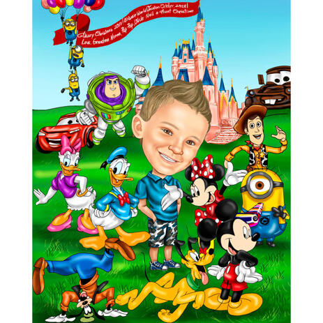 Baby Caricature Drawing in Color Style with Cartoon Movies Characters Background - example