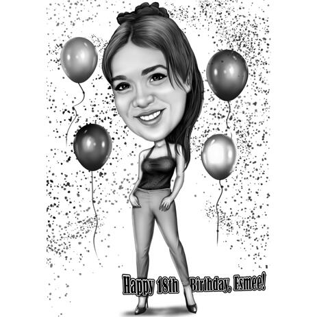 18th Anniversary Birthday Caricature from Photos - example