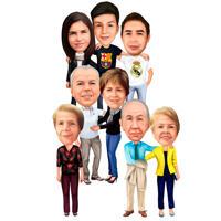 Ganzkörper-Familien-Karikatur-Zeichnung im Farbstil auf weißem Hintergrund