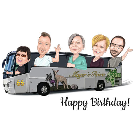 Family in Bus Caricature from Photos for Group Birthday Gift - example