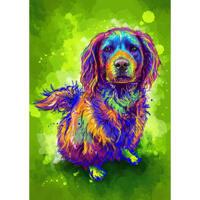 Fuld krop hund karikatur portræt i akvarel stil på grøn baggrund