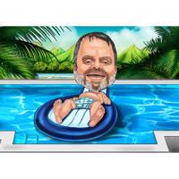 Карикатура человека на фоне бассейна в полный рост в цветном стиле
