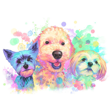 Pastel Dogs Portrait in Watercolor Style - example