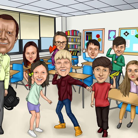 School Group Caricature from Photos - example