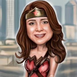 Superhero naine karikatuur fotodest emadepäeva kingitusele