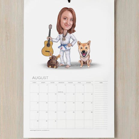 Master and Dog Caricature as Calendar - example