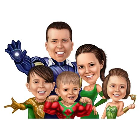 Family Caricature with Random Superhero Costumes in Colored Style - example