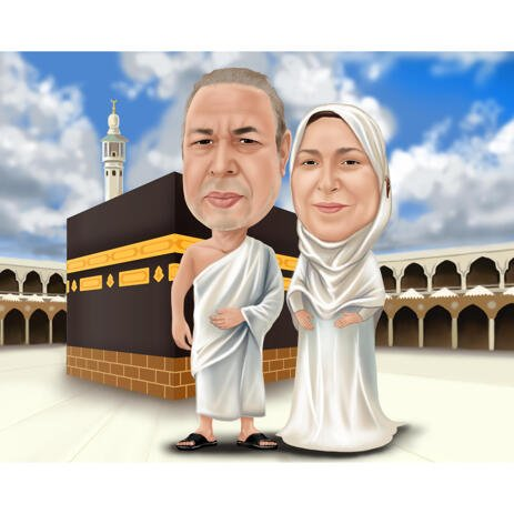 Custom Couple Caricature Cartoon Art Painting with Mecca Background Hand Drawn from Photos - example