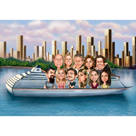 Group on Yacht Caricature from Photos - example