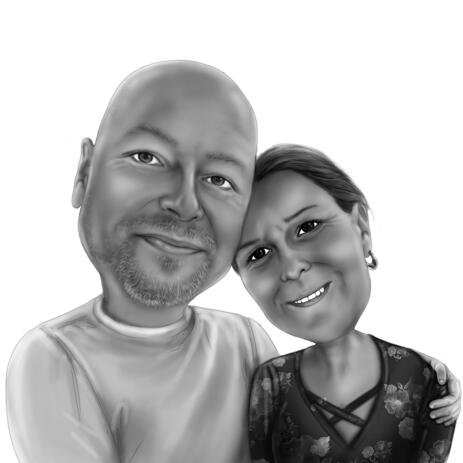 Dearly Hug Cartoon Drawing in Black and White Style from Photos - example