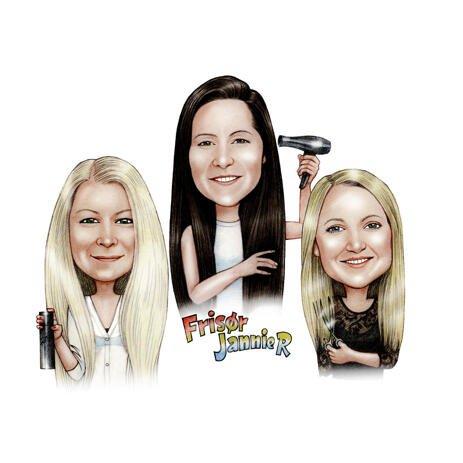 Group Caricature of Professional Hairdressers from Photos - example