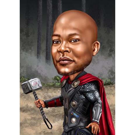 Карикатура человека в образе Тора нарисованная с фото - example