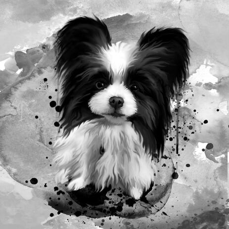 Graphite Dog Watercolor Portrait with Background - example