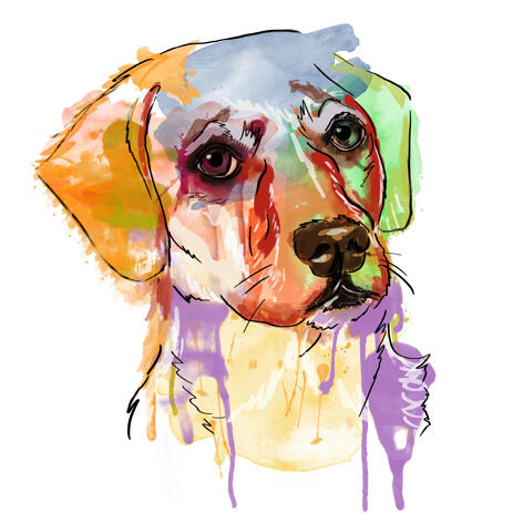 Digital Artistic Dog Watercolor Painting from Photos - example