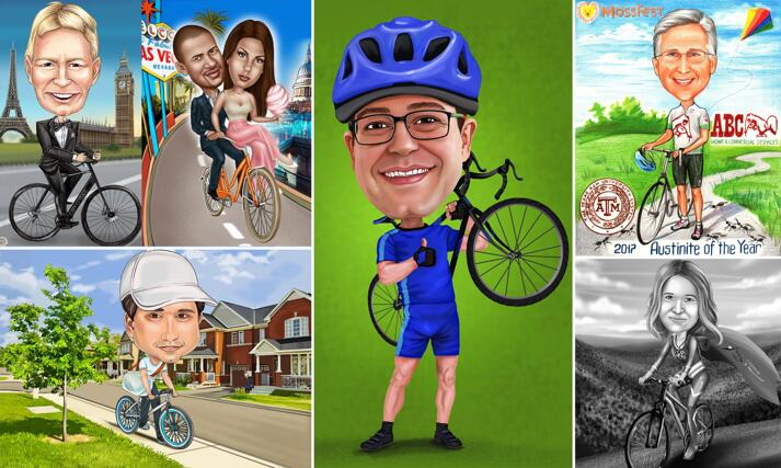 Bicycle Caricatures large example