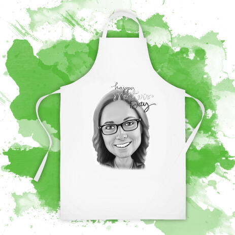 Apron for Gift on Mother's Day: Cartoon Drawing in Monochrome Digital Style - example
