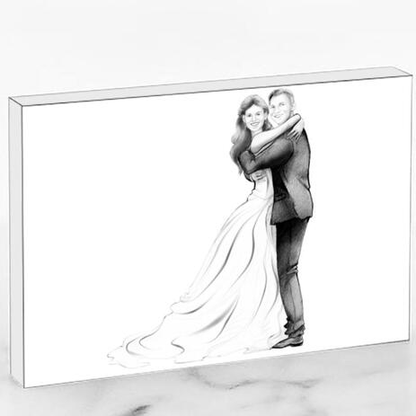 Just Married Caricature Printed as Photo Block - example
