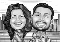 Super-héros Couple Caricature example 12